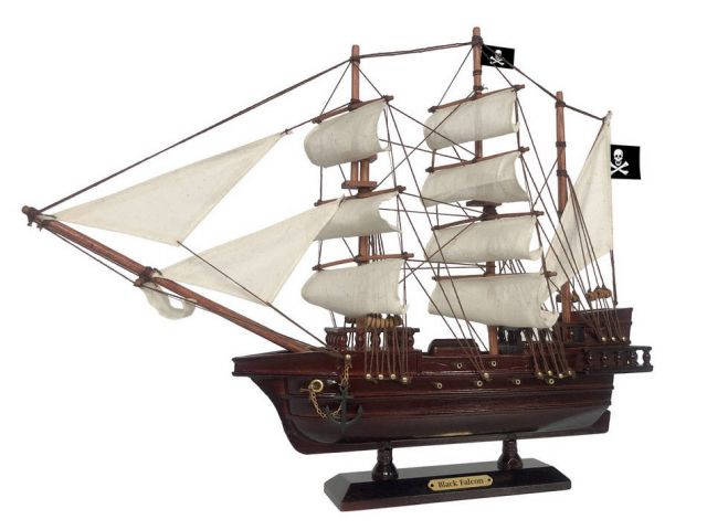Wooden Captain Kidds Black Falcon White Sails Pirate Ship Model 20