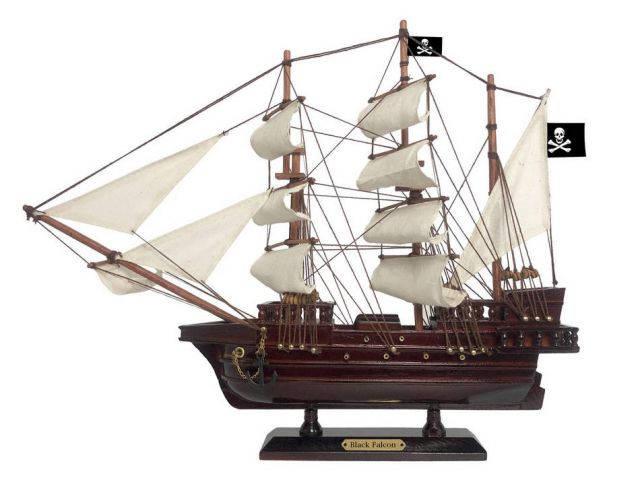 Wooden Captain Kidds Black Falcon White Sails Pirate Ship Model 15