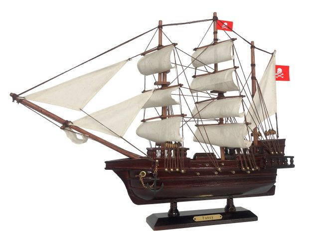 Wooden Henry Averys Fancy White Sails Pirate Ship Model 20