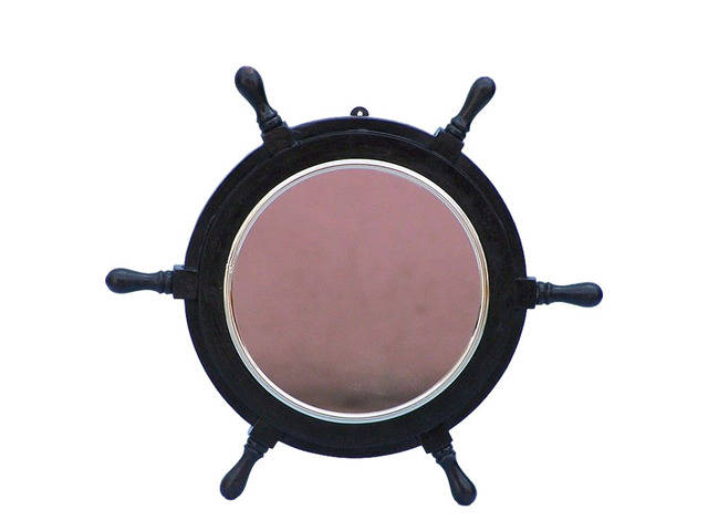 Deluxe Class Wood and Chrome Pirate Ship Wheel Mirror 16
