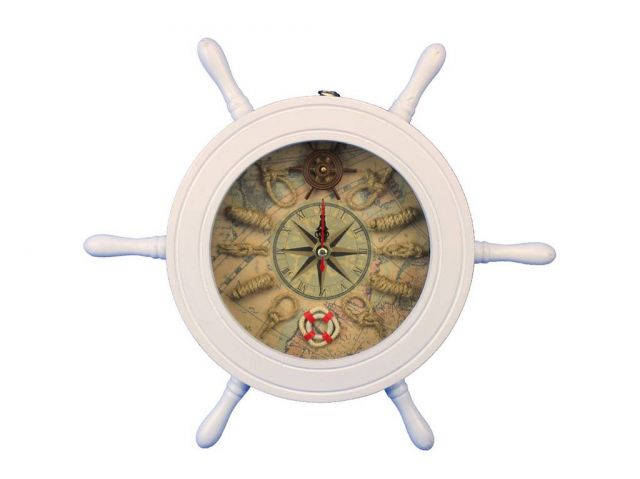 Wooden White Ship Wheel Knot Faced Clock 12