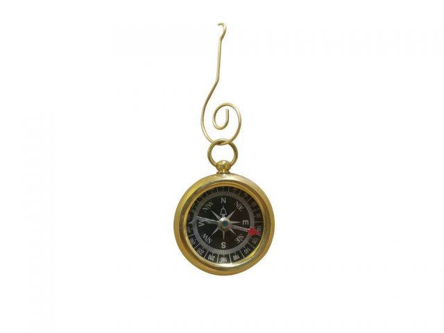 Solid Brass Beveled Black Faced Compass Christmas Ornament 4