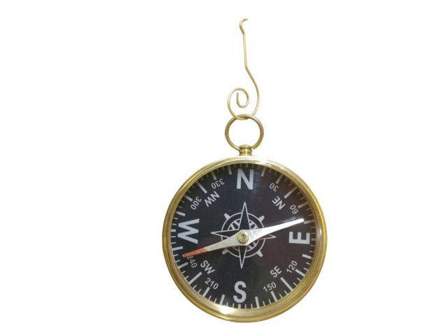 Solid Brass Captains Black Faced Compass Christmas Ornament 5