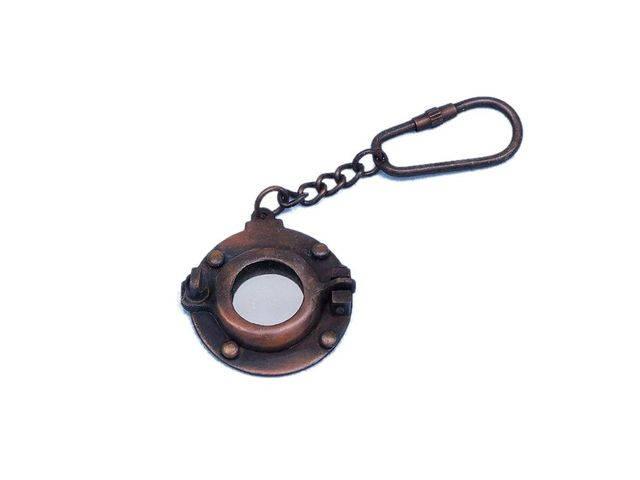 Antique Copper Porthole Key Chain 5