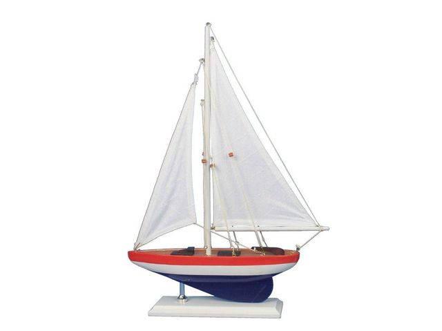 Wooden USA Sailer Model Sailboat Decoration 17