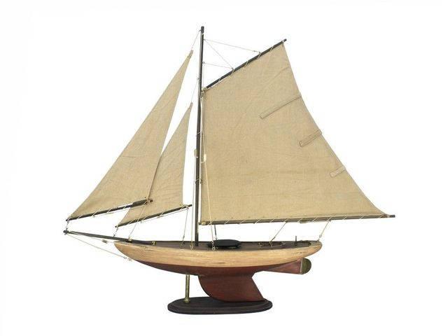 Wooden Rustic Bermuda Sloop Model Sailboat Decoartion 30