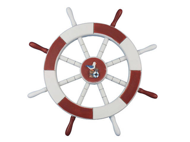Red and White Decorative Ship Wheel with Seagull and Lifering 18