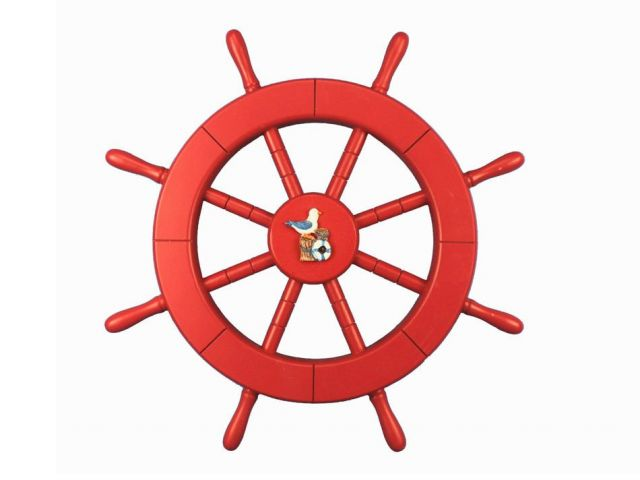 Red Ship Decorative Wheel with Seagull and Lifering 18