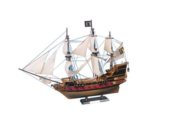 Black Barts Royal Fortune Model Pirate Ship 36 - White Sails