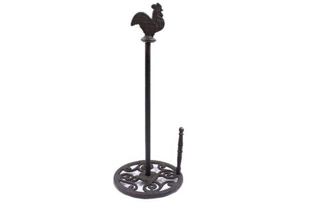 Cast Iron Rooster Paper Towel Holder 15