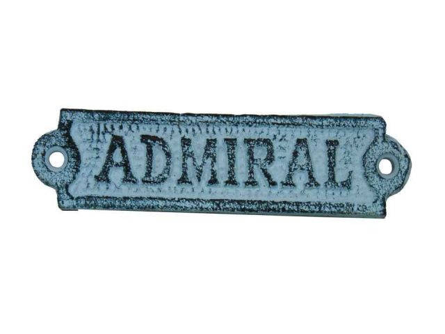 Light Blue Whitewashed Cast Iron Admiral Sign 6