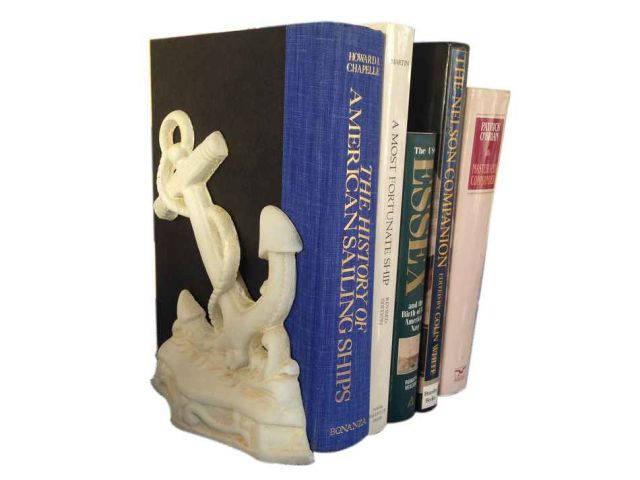 Set of 2- Antique White Cast Iron Anchor Book Ends 8