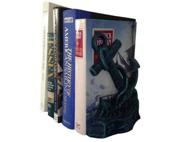 Set of 2- Seaworn Blue Cast Iron Anchor Book Ends 8