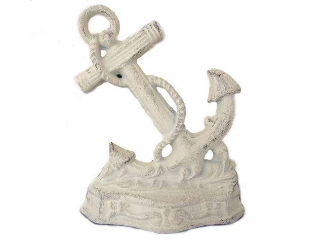 Whitewashed Cast Iron Anchor Door Stopper 8