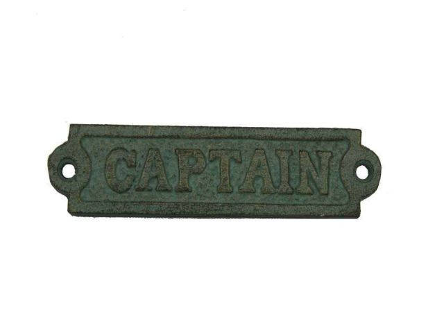Antique Seaworn Bronze Cast Iron Captain Sign 6