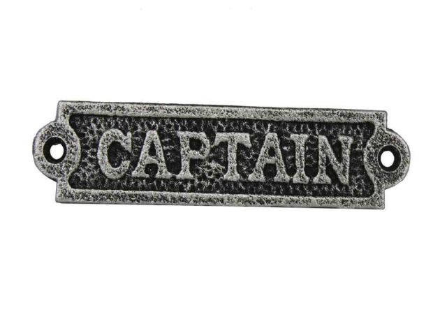Antique Silver Cast Iron Captain Sign 6