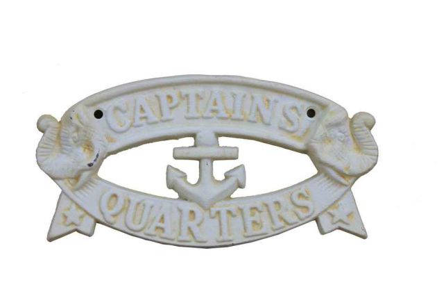 Antique White Cast Iron Captains Quarters Sign 8