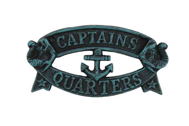 Seaworn Blue Cast Iron Captains Quarters Sign 8