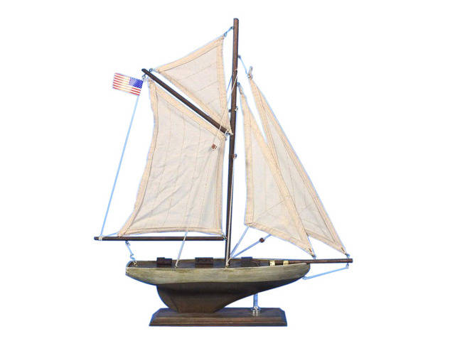 Wooden Rustic Columbia Model Sailboat Decoration 16