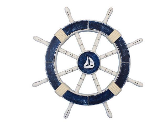 Rustic Dark Blue Decorative Ship Wheel with Sailboat 18