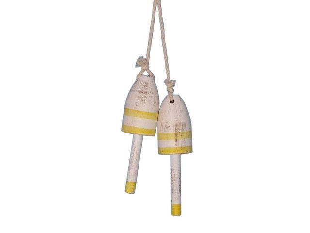 Set of 2 - Wooden Vintage Yellow Decorative Maine Lobster Trap Buoy 7