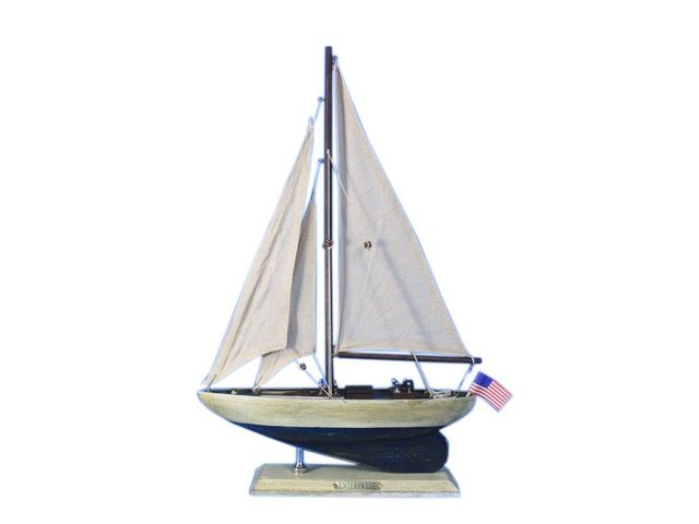 Wooden Rustic Enterprise Model Sailboat Decoration 16