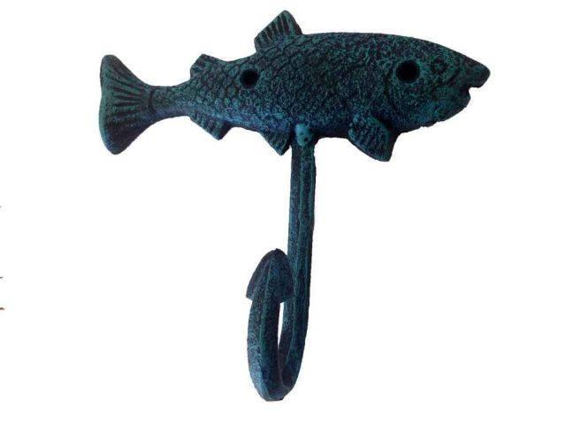 Seaworn Blue Cast Iron Fish Key Hook 6