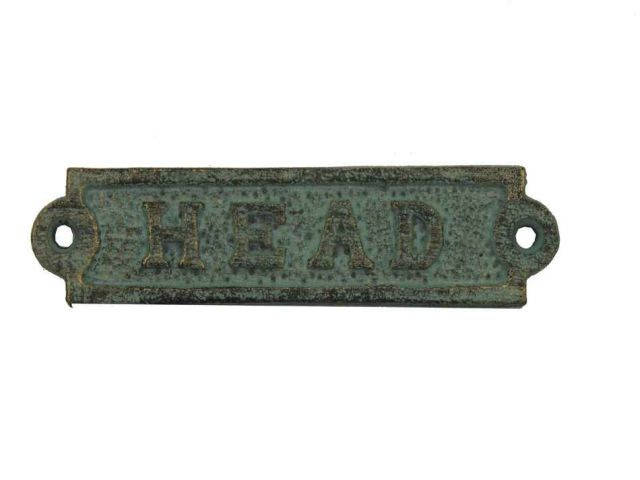 Antique Seaworn Bronze Cast Iron Head Sign 6
