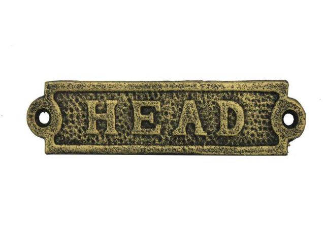 Antique Gold Cast Iron Head Sign 6