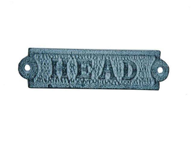Light Blue Whitewashed Cast Iron Head Sign 6