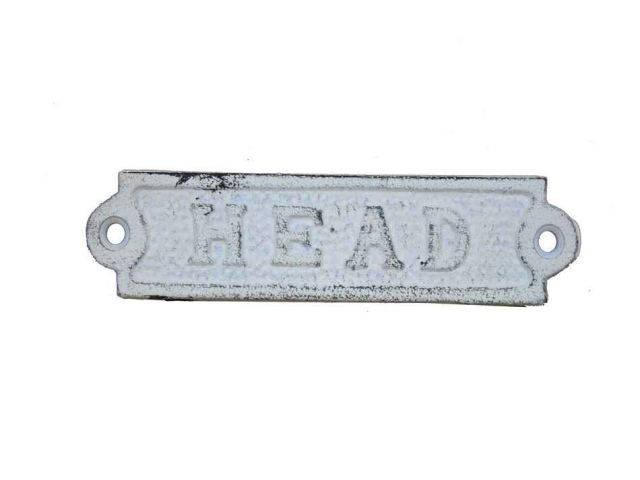 Whitewashed Cast Iron Head Sign 6