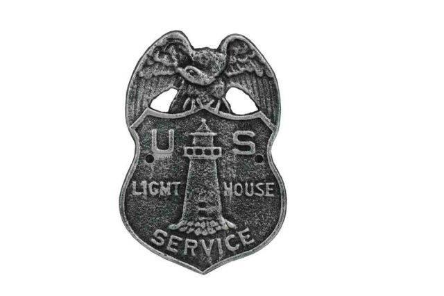 Antique Silver Cast Iron US Lighthouse Service Sign 9