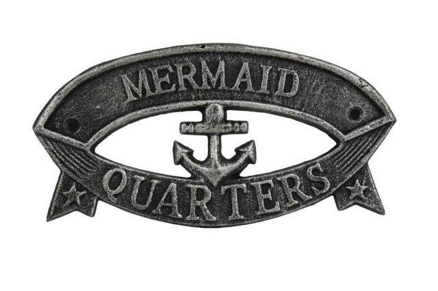 Antique Silver Cast Iron Mermaid Quarters Sign 8