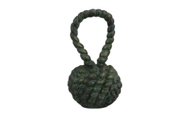 Antique Seaworn Bronze Cast Iron Sailors Knot Door Stopper 10