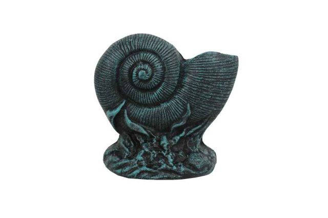 Seaworn Blue Cast Iron Nautilus Shell Door Stopper 8