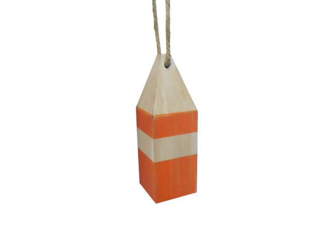 Wooden Rustic Orange Chesapeake Bay Decorative Crab Trap Buoy 8