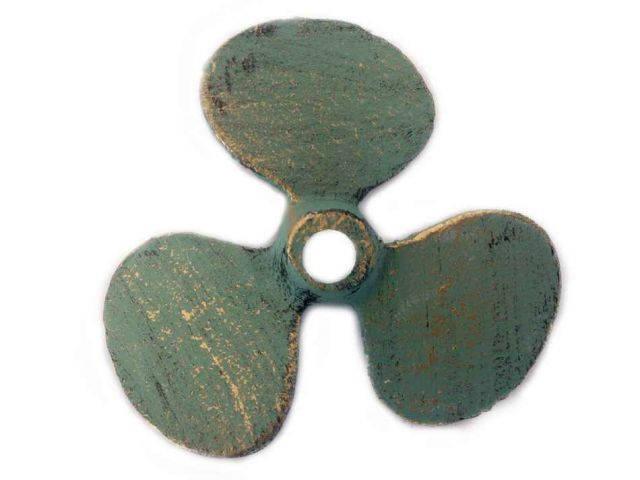 Antique Seaworn Bronze Cast Iron Propeller Paperweight 4