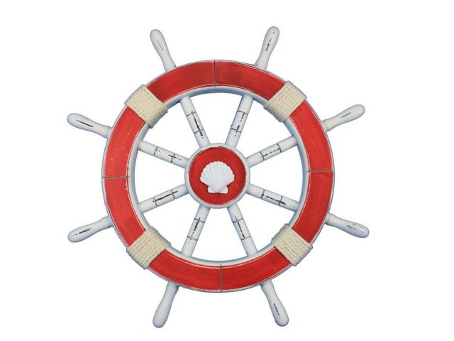 Rustic Red Decorative Ship Wheel with Seashell 18