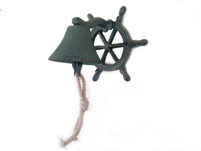 Antique Seaworn Bronze Cast Iron Hanging Ship Wheel Bell 7