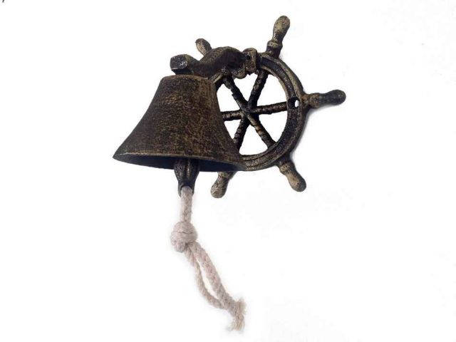 Antique Gold Cast Iron Hanging Ship Wheel Bell 7