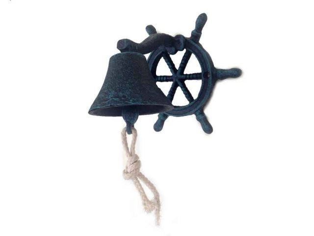 Seaworn Blue Cast Iron Hanging Ship Wheel Bell 7