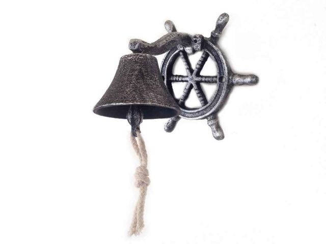 Antique Silver Cast Iron Hanging Ship Wheel Bell 7
