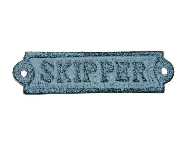 Light Blue Whitewashed Cast Iron Skipper Sign 6