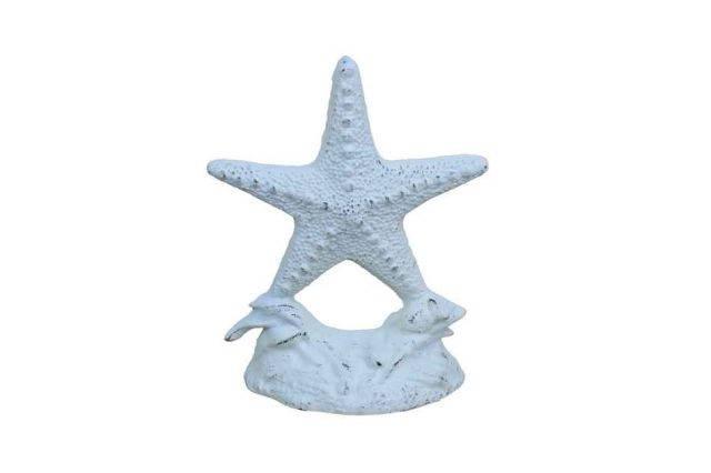 Whitewashed Cast Iron Starfish Door Stopper 11