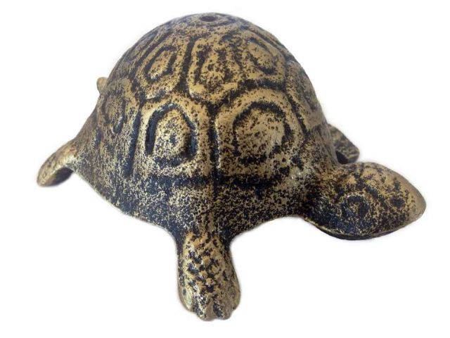 Antique Gold Cast Iron Turtle Paperweight 5