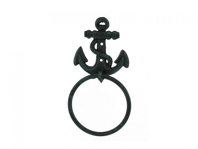 Seaworn Blue Cast Iron Anchor Towel Holder 8.5