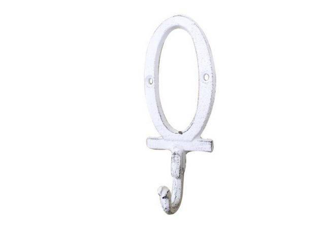 Whitewashed Cast Iron Letter O Alphabet Wall Hook 6