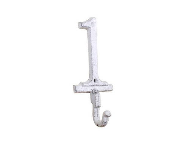 Whitewashed Cast Iron Number 1 Wall Hook 6
