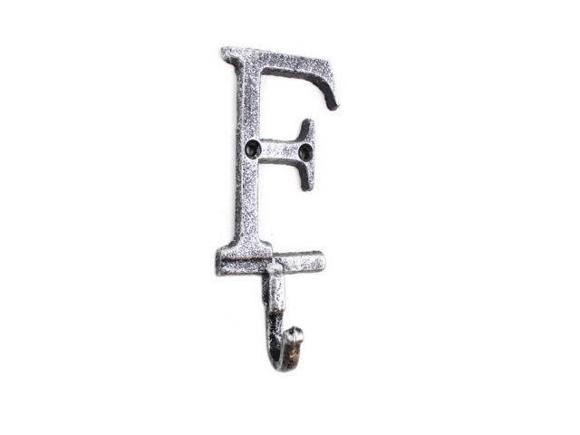 Rustic Silver Cast Iron Letter F Alphabet Wall Hook 6