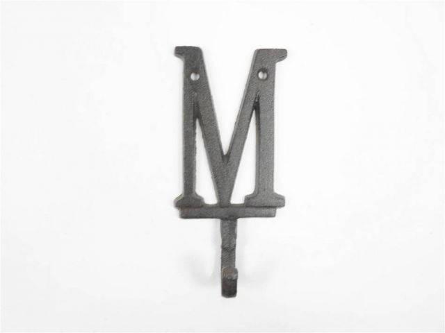 Cast Iron Letter M Alphabet Wall Hook 6